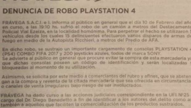 Frávega denuncia el robo de un cargamento de Playstation 4